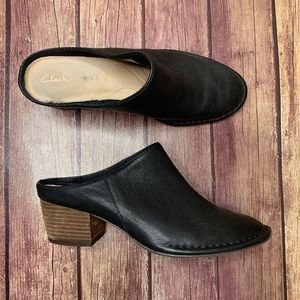 CLARKS Black Cushion Leather Mules Stacked Heel